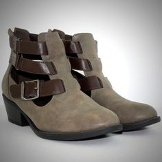cf3ed59a1aa8 Soda Vegan Boots 9 Cut Out Buckle Ankle Multiple Strap Booties Stacked Heel  Gray  Soda