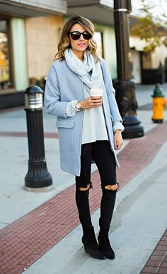 winter outfit trend: pastel blue coats | StyleCaster