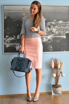 light pink pencil skirt OMG Fashion skirt - silver cropped OMG Fashion sweater