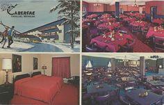 Cadillac Wellston MI INTERIOR Caberfae Hotel Resort and Restaurant Michigan Family Ski Trip History CCC built 1930s Michigans 1st Ski Resort opened 1938 Skiing & Tobboggan BOWLING TOO