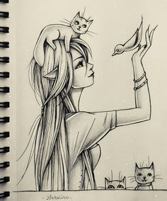 Bird among cats by natalico