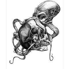 Scary OCTOPUS eating skull temporary tattoo by almasjewelryart Octopus Tattoo Sleeve, Octopus Tattoo Design, Tattoo Designs, Skull Tattoos, Leg Tattoos, Sleeve Tattoos, Tattoo Sketches, Tattoo Drawings, Kracken Tattoo