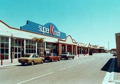 The entrance to Super K Mart.  This area has now been developed and the road block to through traffic. Date of original:1987