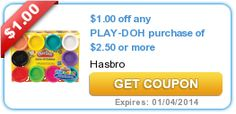 Set aside coupon savings for vacation spending money! $1.00 off any PLAY-DOH purchase of $2.50 or more
