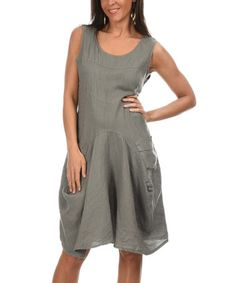 This Anthracite Side-Pocket Linen Maxi Dress by Couleur Lin is ...