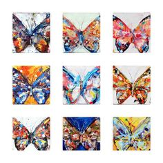 Butterflies Imagined - various 8x8in canvas'