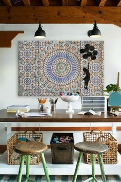 Boho Home Offices To Inspire via Mina Brinkley