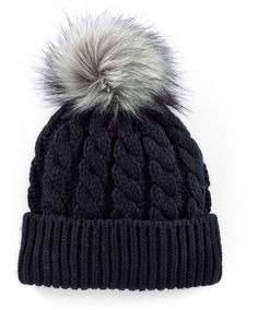 c5568508e0a Stay cute and warm in this Madden-Girl faux-fur pom-pom cable-knit beanie  hat!
