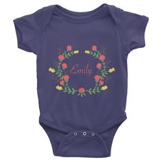 Custom name text Infant short sleeve one-piece with red and yellow flowers wreath, personalized baby clothing