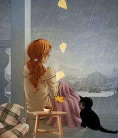 Memories me rain thoughts girl illustration Art And Illustration, Cartoon Kunst, Cartoon Art, Fantasy Kunst, Fantasy Art, Beautiful Gif, Beautiful Pictures, Digital Art Girl, Scenery Wallpaper