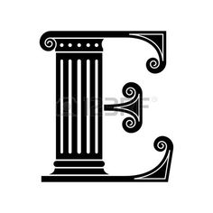 Roman Capital Letter Alphabet E Made In The Classic Old Style