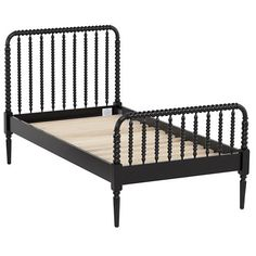 The Land of Nod | Kids Beds: Black Spiral Spindle Bed in Jenny Lind Collection