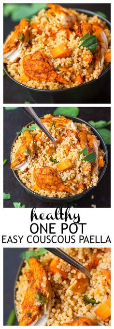 Easy Couscous Paella- A delicious, 1 pot meal which is ready in less than 20 minutes! Swap the rice for couscous in this healthy paella like dish! Paella Recipe, Cooking Recipes, Healthy Recipes, Delicious Recipes, Easy Recipes, Easy Weeknight Meals, One Pot Meals, Quinoa, The Best