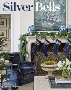 Gold and Navy Blue Christmas Fireplace Decoration Blue Christmas Decor, Gold Christmas Decorations, White Christmas, Christmas Home, Christmas Palette, Fireplace Decorations, Christmas Concert, Classy Christmas, Christmas Villages
