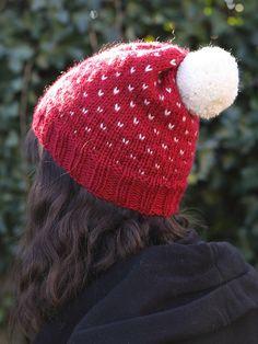 Hand Knit Winter Hat Pom pom Fair Isle Beanie Slouchy Hand