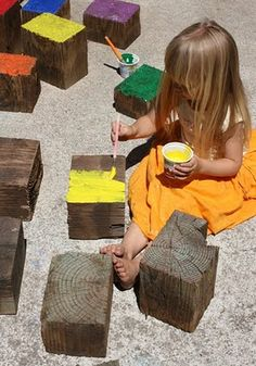 Giant reclaimed wooden blocks ~ back yard DIY building blocks