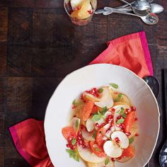 Serve dishes with both adult and kid appeal, like this simple and refreshing fruit salad of Asian pears, grapefruit, and pomegranate seeds.