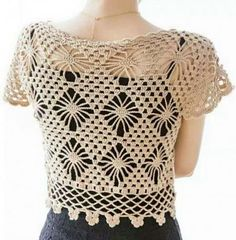 Beautiful crochet bolero with crystal beads Free crochet pattern … Crochet pattern … More … Crochet Gratis, Bead Crochet, Free Crochet, Crochet Top, Crochet Bolero Pattern, Crochet Patterns, Crochet Clothes, Crochet Sweaters, Crochet Tablecloth