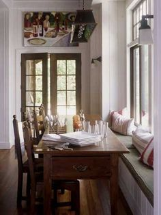 Window Seat Dining Area again....I'm addicted!  Love the drawer at the end of the table - very pratical.