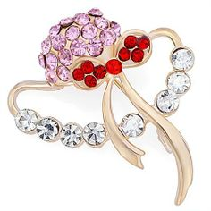Pugster Beach Cap Red Pink Crystal Brooch Pugster. $12.39. Exquisitely detailed designer style with Swarovski cystal element.. Occasion: casual wear,anniversary, bridal, cocktail party, wedding. Money-back Satisfaction Guarantee.. Can be pinned on your gown or fastened in your hair with bobby pins.. One free elegant cushioned Gift box available with every order from Pugster.