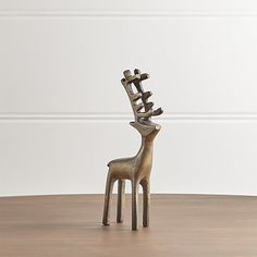 "8"" Brass Reindeer   Crate and Barrel"