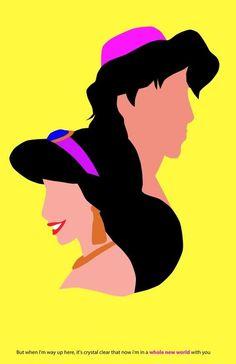Aladdin and Jasmine silhouettes Disney Up, Arte Disney, Disney And More, Disney Love, Disney Magic, Disney Couples, Aladdin Y Jasmin, Aladdin Art, Disney Magazine