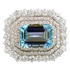 TIFFANY & CO. Victorian Aquamarine Diamond Platinum Brooch