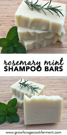 Homemade Rosemary Mint Shampoo Bars This is Jan Berry's recipe from the Natural Soap Making eBook bundle.For a more intense herbal experience, you can infuse a portion of the oils with dried rosemary and/or peppermint. Shampoo Bar, Lush Shampoo, Homemade Shampoo And Conditioner, Natural Hair Shampoo, Solid Shampoo, Natural Beauty Tips, Natural Hair Styles, Diy Beauté, Soap Recipes