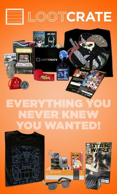 LootCrate. It IS everything I never knew I wanted. Tons of cool pop culture items like t-shirts, comics, cards and characters. Very nice!