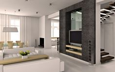Modern Room Design - Architecture, Design & Home Decor. DIY Inspiration for Living Room, Dining Room or Den. TV console, fireplace & furniture have straight lines.