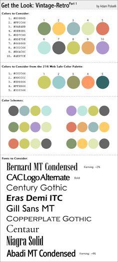 Vintage/Retro color schemes with hex color codes