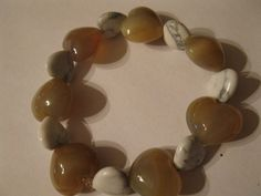 Stone heart bracelet chalcedony & howlite by las81101 on Etsy, $14.00