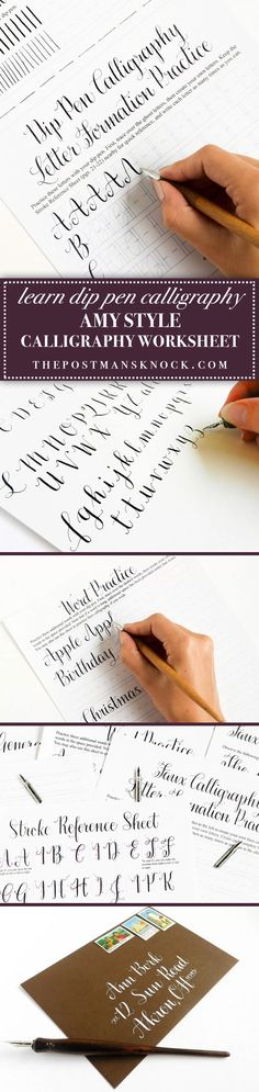 The Amy Style Calligraphy Worksheet is the #1 recommended worksheet for beginners who want to know everything from start to finish; this no-slant style is easier to create for those who are not accustomed to dip pen calligraphy!