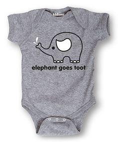 Athletic Heather Elephant Bodysuit - Infant