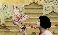 Tout Rose, Pig Art, This Little Piggy, Flying Pig, Cute Pigs, Magick, Collage Art, Tigers, Lions