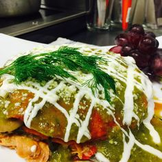 Dinner ready  Enchiladas manchamanteles Choice of beef or pollo Ground beef or chicken With tomatillo sauce  Salad on the side