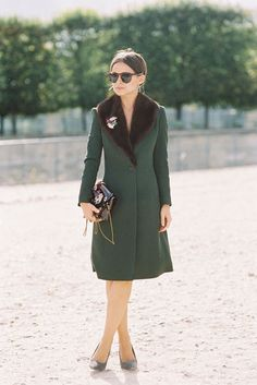 coat, tight dress, tights, pointy heels, sunglasses