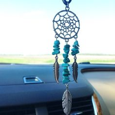 Dream Catcher Mirror Hanging Dream Catcher Turquoise Dream Catcher Web Feathers Turquoise Country Cowgirl Indian Boho Tribal Western South (14.95 USD) by CountryOutlawDesigns