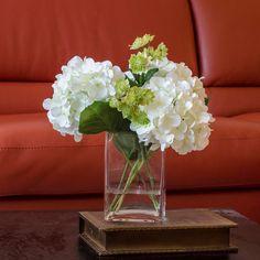 White Hydrangea Arrangement Silk Flowers Greenery Spray by flovery, $75.00