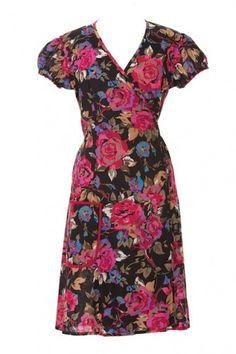 WRAP TEA DRESS * VINTAGE RETRO FLORAL BOHO * FAIR TRADE * 8 10 12 14 16 18 20 | eBay