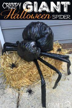 Diy Halloween Spider, Homemade Halloween Decorations, Halloween Party Decor, Halloween Garden Ideas, Halloween Decorating Ideas, Spider Halloween Costume, Halloween Yard Art, Scary Costumes, Halloween Bags