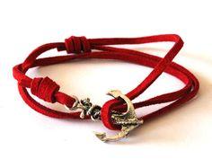 ON SALE  50 off Red Nautical Suede Friendship by EphemeralDesigns, $10.00