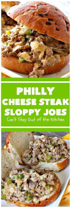 Philly Cheese Steak Sloppy Joes Can't Stay Out Of The Kitchen These Spectacular Are So Mouthwatering and Delicious. They Can Be Made In About 15 Minutes, Making Them Perfect For Busy Weeknight Dinners. We Loved Them Beef Recipes, Cooking Recipes, Recipies, Crowd Recipes, Beef Meals, Cheesy Recipes, Skillet Recipes, Snacks Recipes, Casserole Recipes