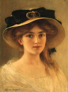 Victorian paintings - Girl with Black Ribboned hat Albert Lynch – Victorian paintings Classic Paintings, Old Paintings, Beautiful Paintings, William Adolphe Bouguereau, Victorian Paintings, Victorian Art, Victorian Tattoo, Victorian Makeup, Victorian Outfits