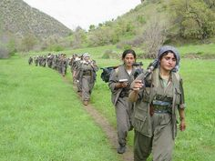 These women from YPG have traveled from Syria to Iraq to join the fight against IS (earlier ISIS) Tris Nguyen: Based on their uniforms they must be PKK not YPG. Women Freedom Fighters, Dark House, Outdoor Girls, Two Rivers, Warrior Girl, Female Soldier, Military Women, Armed Forces, History