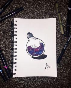 Marker Kunst, Marker Art, Beautiful Drawings, Cute Drawings, Pencil Drawings, Art Corner, Bullet Journal Art, Galaxy Art, Doodle Art