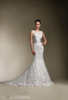 Trumpet/Mermaid Bateau Floor-Length Chapel Lace Wedding Dresses