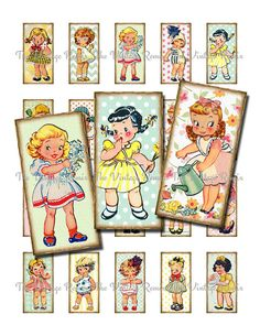 INSTANT DOWNLOAD, Digital Collage Sheet, Printable Domino Images of Retro, Vintage Girls, 1x2 inch.
