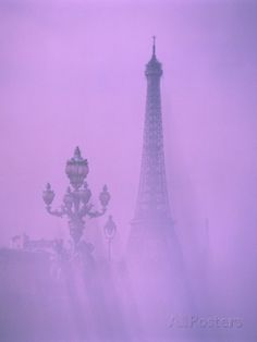 Eiffel Tower and Candelabra with Fog in Paris Photographic Print