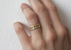 14k Gold Wedding Band Roman Numerals Ring Date Ring by capucinne